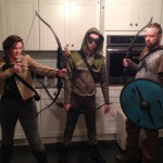 Me as Katniss Everdeen; Netto as the Green Arrow; and Paul as Ragnar Lodbrok.