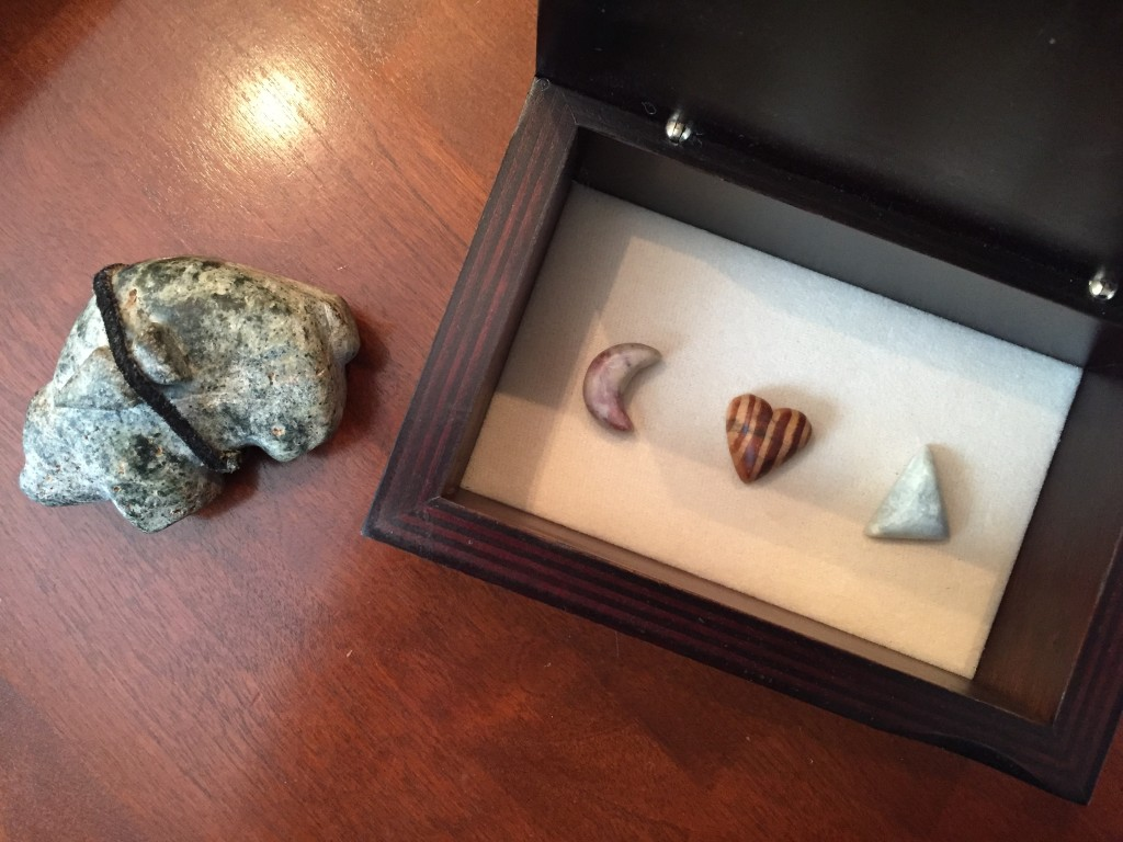 The bear and my stones: the moon, heart, and triangle